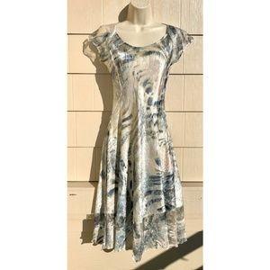 Komarov Cap Sleeve Lace Trim Crinkle Dress